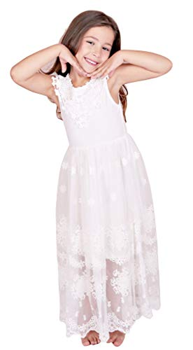 Bow Dream Flower Girl's Dress Vintage Lace Off White 7 ()