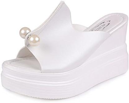 Frauit Sandalen voor dames pantoffels plateauzool solide parel waterdichte sleeve platte peep toe comfortabele schoenen