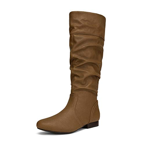 DREAM PAIRS Women's BLVD Camel Knee High Pull On Fall Weather Boots Size 8 M US