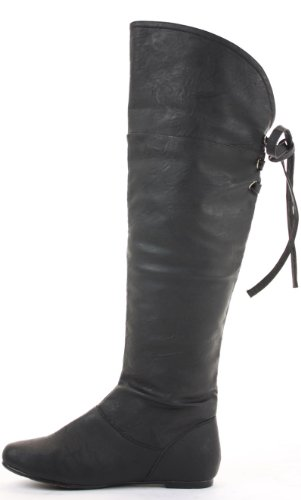 Black Flat Thigh Ladies Low Knee Black the Size Heel 3 Style Faux Womens Knee 8 Boots Winter Over Leather Biker High qgAwBwU