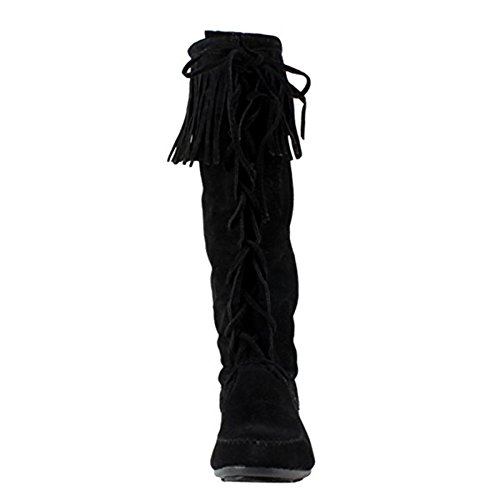 Ankle Boot 1/2 Inch Sexy - Forever BAYLEE-09 Women's Fashion Fringe Lace Up Knee High Boots Black
