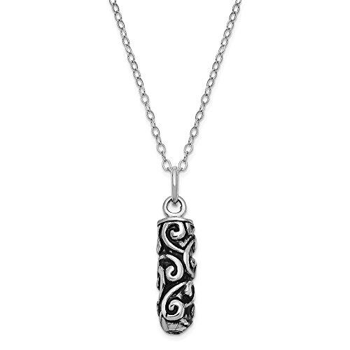 (Beautiful Sterling silver 925 sterling Sterling Silver Antiqued Cylinder Remembrance Ash Holder 18in Necklace)