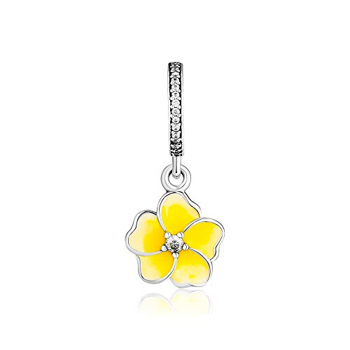 CKK DIY Fit Pandora Bracelets Yellow Poetic Blooms Flower Dangle Charm 925 Sterling Silver Pendant for Jewelry Necklace ()
