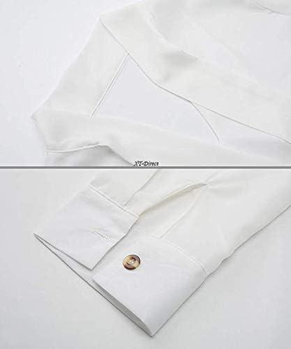 heekpek Camisa Lisa Manga Larga Blusa Escote en V para Mujer Primavera Otoño