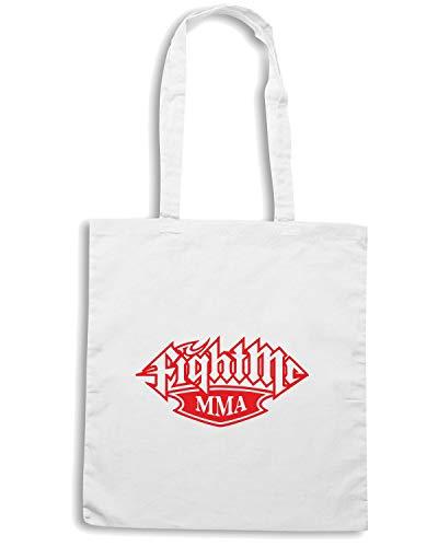 Shopper FIGHT MMA Bianca Speed Borsa TAM0195 Shirt ME Fzxnw4X
