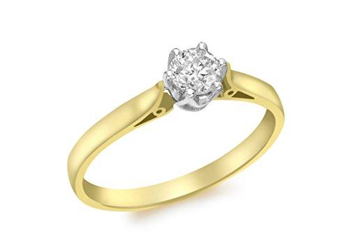 9ct or jaune 0,50CT Diamant Bague solitaire