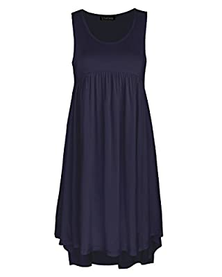 KILIG Women's Sleeveless Pockets Casual Loose Swing Flare Dress