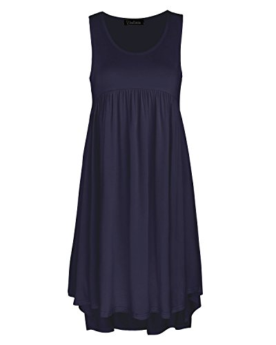 Kilig Women's Sleeveless Pockets Casual Loose Swing Flare Dress