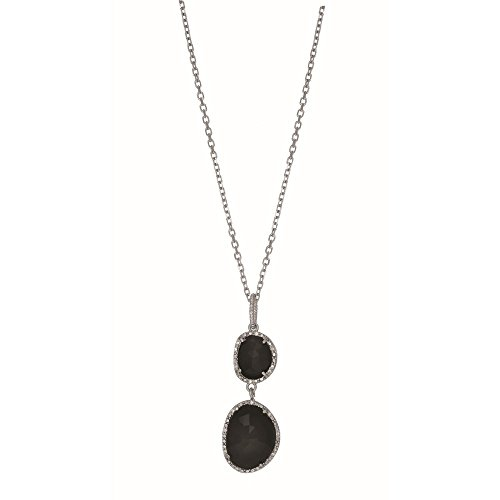 Sterling Silver Rhodium 10.9x9.2mm Onyx Pendant Trimmed 0.075ct. White Diamond Necklace - 18 Inch
