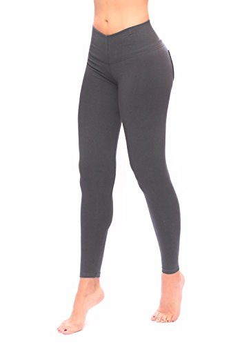 Women Gray Leggings With Pockets Slim And Tone Control By Bon Bon Up