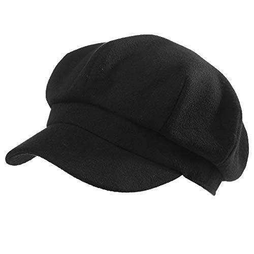 Womens Woolen Visor Beret Newsboy Cap Paperboy Cabbie Painter Hat Black