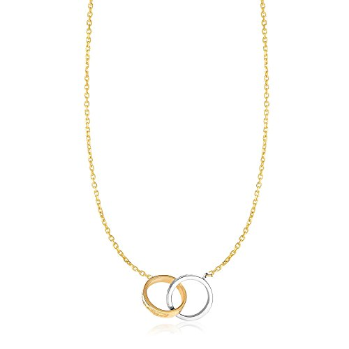 14k Two Tone Yellow And White Gold 17 Inch Polish Diamond Cut Finish Double Ring Oval Link Necklace 14kt Gold Double Link Necklace