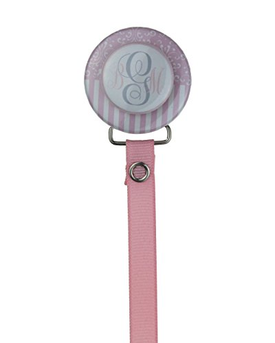 Crystal Dream Pink Personalized Monogram Damask & Stripes 3D Pacifier Clip with Matching Ribbon 8 Inch (Cheap Monogram Stuff)