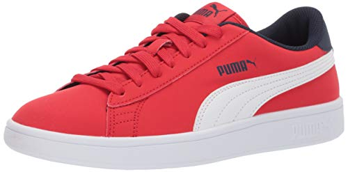 PUMA Unisex Smash v2 Sneaker, high Risk red White Peacoat, 6 M US Big Kid