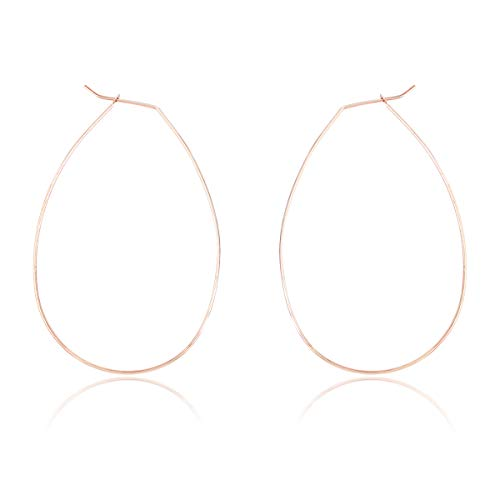 RIAH FASHION Simple Lightweight Geometric Statement Hoop Earrings - Classic Thin Wire Delicate Curved Threader Dangles Round/Pear/Horseshoe/Wood Oval (Oval Rose Gold)