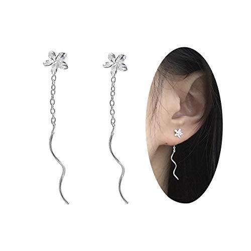 FarryDream Genuine 925 Sterling Silver Plumeria Flowers Tassel Earrings for Women Teen Girls Elegant Earrings -