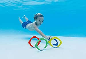 Intex 55507 Diving Swimming Pool Kids Toy Play Underwater Fish Rings 4-PC