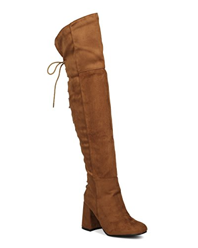 Camel Riding Costume (Indulge Bella I Women Hind Lace Up Block Heel Boot - Over The Knee Chunky Heel - Thigh High Party Dressy Versatile Winter Cosplay Costume Tall Boot - Camel Faux Suede (Size: 8.0))