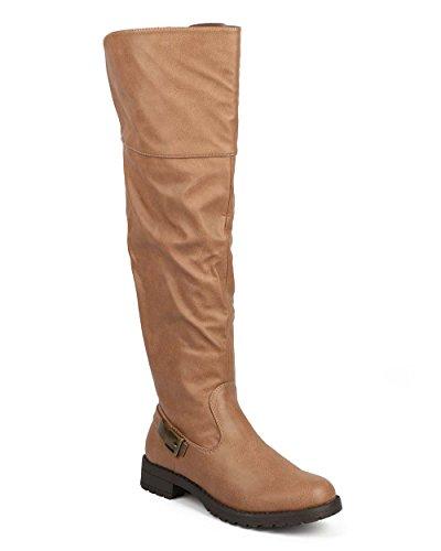 Markera Maddux De62 Kvinnor Knähöga Läder Tillbaka Spänne Elastisk Ridstövel Kamel