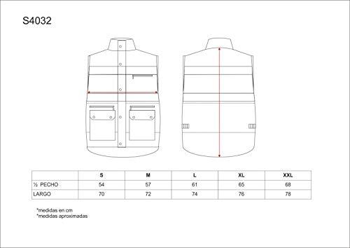 Work Team Chaleco acolchado y multibolsillos con dos cintas reflectantes y tejido de alta visibilidad. HOMBRE 6
