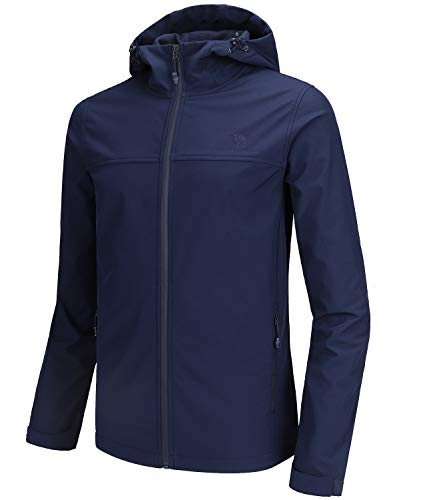 CAMEL CROWN Softshell Jacket Men Hooded Fleece Lined Outdoor Jackets Windproof Water Resistant for Hiking Casual Work Blue L