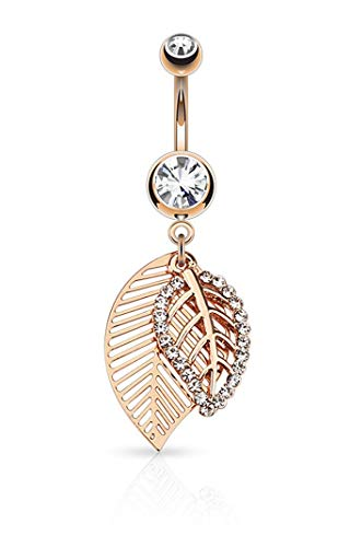 Forbidden Body Jewelry Surgical Steel Fancy Dangle Leaf Belly Button Ring (Design 3, Rose Gold Tone)