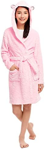 Girls Plush Robe - Fleece 3D Hood Print Sleep Robe