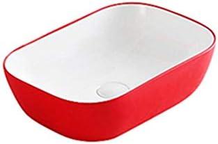 浴室台上盆 内閣洗面所???浴室レッドの上カウンター磁器カウンターバニティ容器シンク 和風 洋風 (Color : Red, Size : 45.5x32x13.5cm)