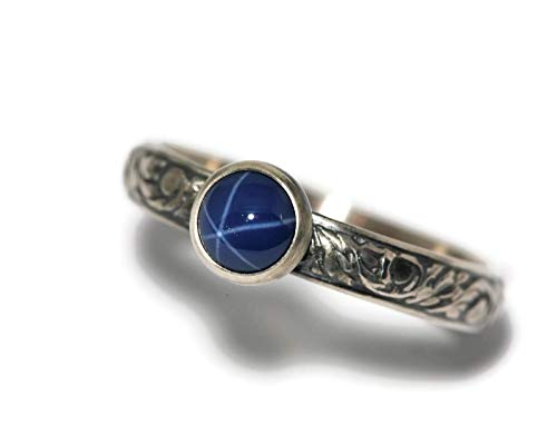 6mm Created Blue Star Sapphire and Sterling Silver Ring on Vine Pattern Band in Antique Finish (Created Blue Star Sapphire Ring)