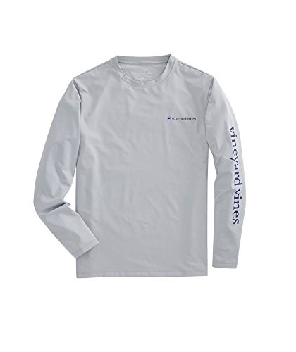 - Vineyard Vines Men's Long-Sleeve Heathered Performance T-Shirt (Medium, Gray Heather)