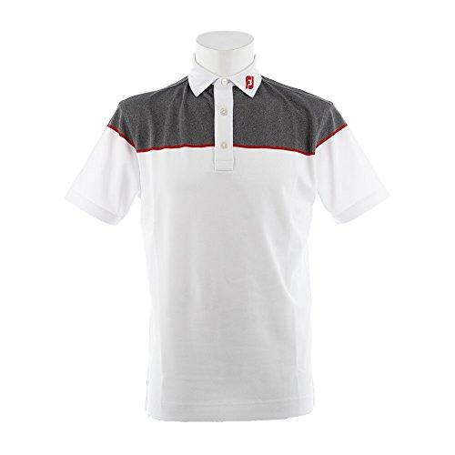 フットジョイ Foot Joy 半袖シャツ?ポロシャツ ストレッチカラーブロック 鹿の子半袖ポロシャツ ホワイト/チャコールヘザー 2XL