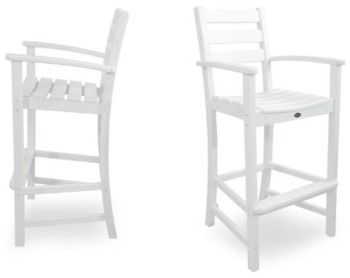 Trex Outdoor Furniture TXS120-1-CW Monterey Bay 2-Piece Bar Chair Set, Classic White (Warranty Patio Year Furniture 20)
