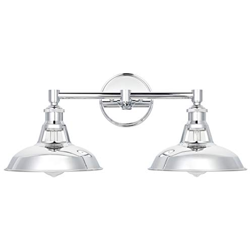 Olivera 2 Light Bathroom Vanity Light | Chrome Industrial Wall Sconce with LED Bulbs LL-WL882-2PC ()