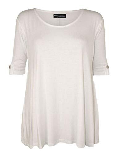 manga para Blanco mujer Talla 21fashion corta nica de Camiseta Negro qwIpA7