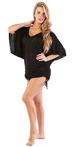 Ingear playa vestido de verano Casual Cover Up Fashion Chic blusa fabricado en EE. UU. Negro