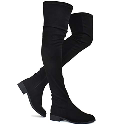 - Premier Standard - Women's Fashion Comfy Vegan Suede Block Heel Thigh High Over The Knee Boots, TPS Booties-02Aipmylo Black v5 Size 10