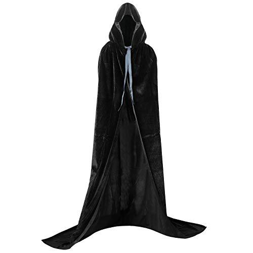 Proumhang Nero Mantello con Cappuccio Lungo in Velluto Costume di Halloween Carnevale Natale Capo Masquerade