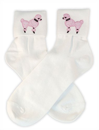 Hip Hop 50s Shop Womens Bobby Sock With Light Pink Poodle Applique - Adult Size White with Light Pink (Shop Womens)