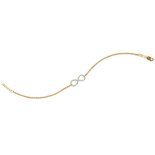 0.10 Carat (ctw) 10K Yellow Gold Round White Diamond Ladies Fashion Infinity Bracelet 1/10 CT