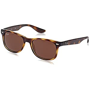 Ray-Ban Kids' New Wayfarer RJ9052S 152/73 Non-Polarized Sunglasses, Tortoise/Brown Classic B-15, 48 mm