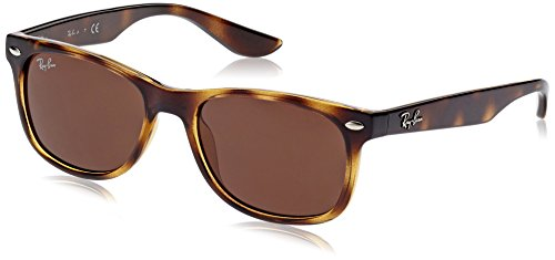 (Ray-Ban Junior RJ9052S New Wayfarer Kids Sunglasses, Tortoise/Brown, 48 mm)