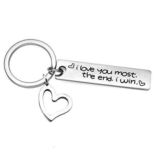 ALoveSoul I Love You Most The End I Win Keychain for Couples Boyfriend Husband Gifts Long Distance Relationships Gifts Valentines Day Keychain]()