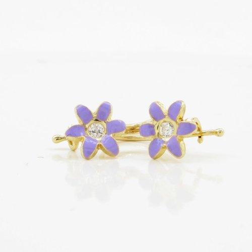 Icedtime 14K Yellow gold Flower cz hoop Small Earrings web45