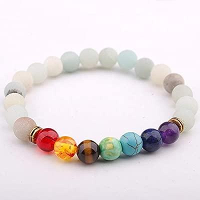 MNJLB Señora Pulsera Grano Mate Siete Chakras Yoga Beads ...