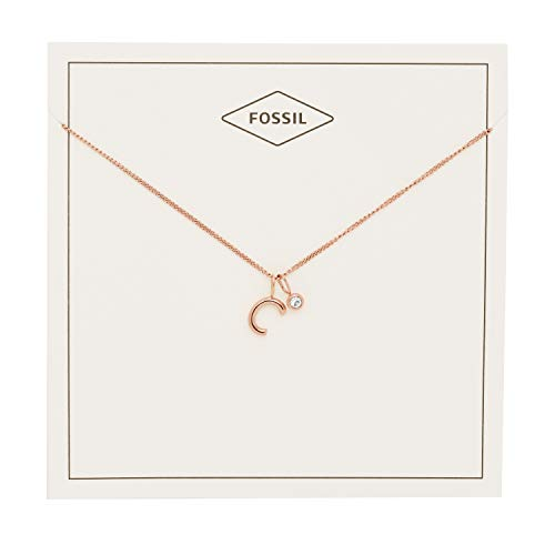 Fossil Women's Letter C Rose Gold-Tone Stainless Steel Necklace, One Size -