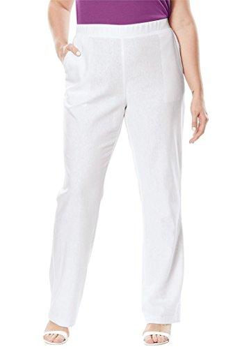 Jessica London Women's Plus Size Pull-On Linen Pants White,16 (Flat Front Linen Skirt)