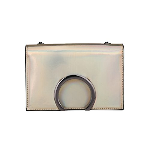 Oulii Bag Chain Patent Leather Bag Holographic Shoulder Bag Crossbody Bag Crossbody Bag (gold)