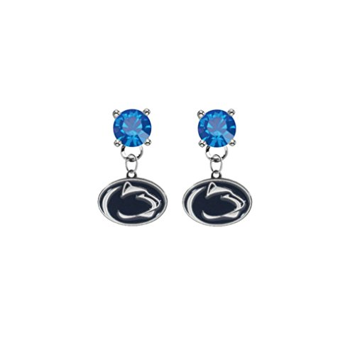(Penn State Nittany Lions Blue Crystal Stud Post Dangle Earrings)