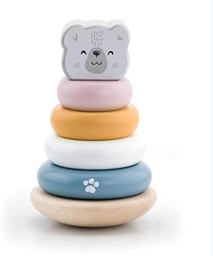 MODERNGENIC Geometric Wooden Animal 'Polar Bear' Stacker, Stacking & Nesting Educational Stacking Tower with Cute Polar Bear for Toddlers
