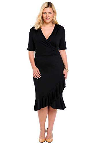 Whimsy Wrap Flounce High-Low V Neck 3/4 Sleeves Plus Size Casual Dress Plus Size Wear to Work Dress, black,XL